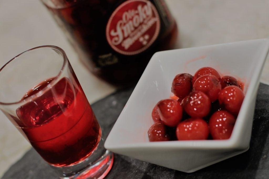 Moonshine shot and cherries